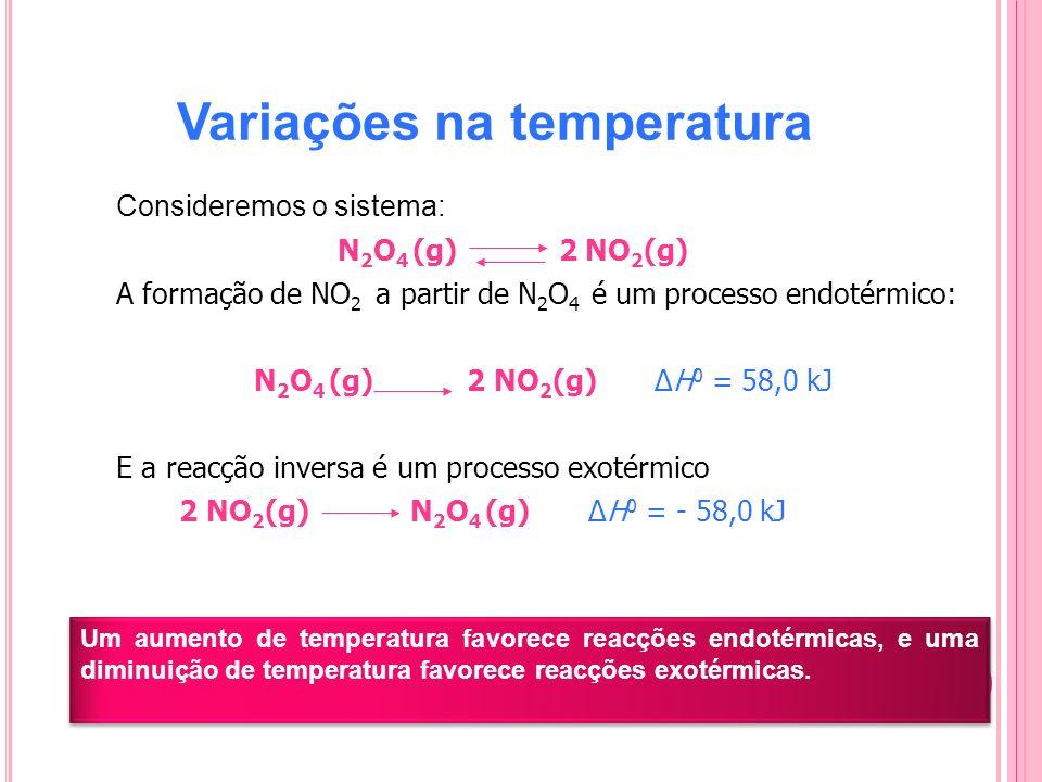 Variações na temperatura