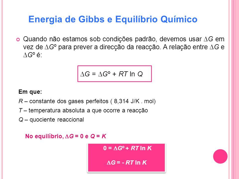 Energia de Gibbs e Equilíbrio Químico