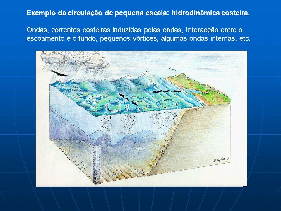 Exemplo da circulação de pequena escala: hidrodinâmica costeira.