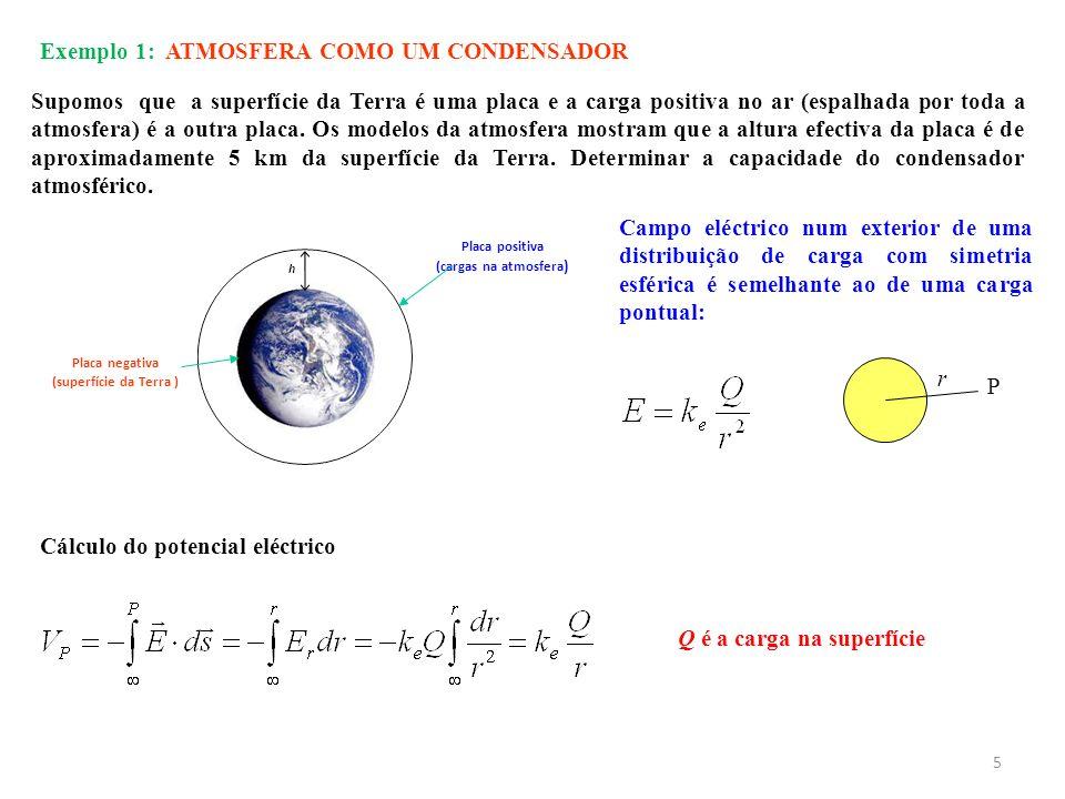 Exemplo 1: ATMOSFERA COMO UM CONDENSADOR