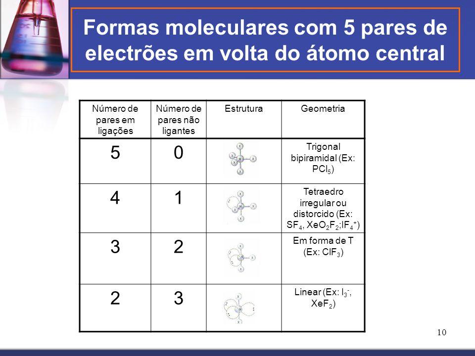 Formas moleculares com 5 pares de electrões em volta do átomo central