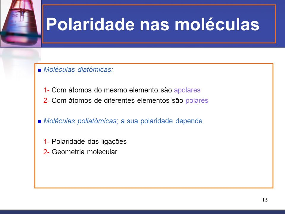 Polaridade nas moléculas