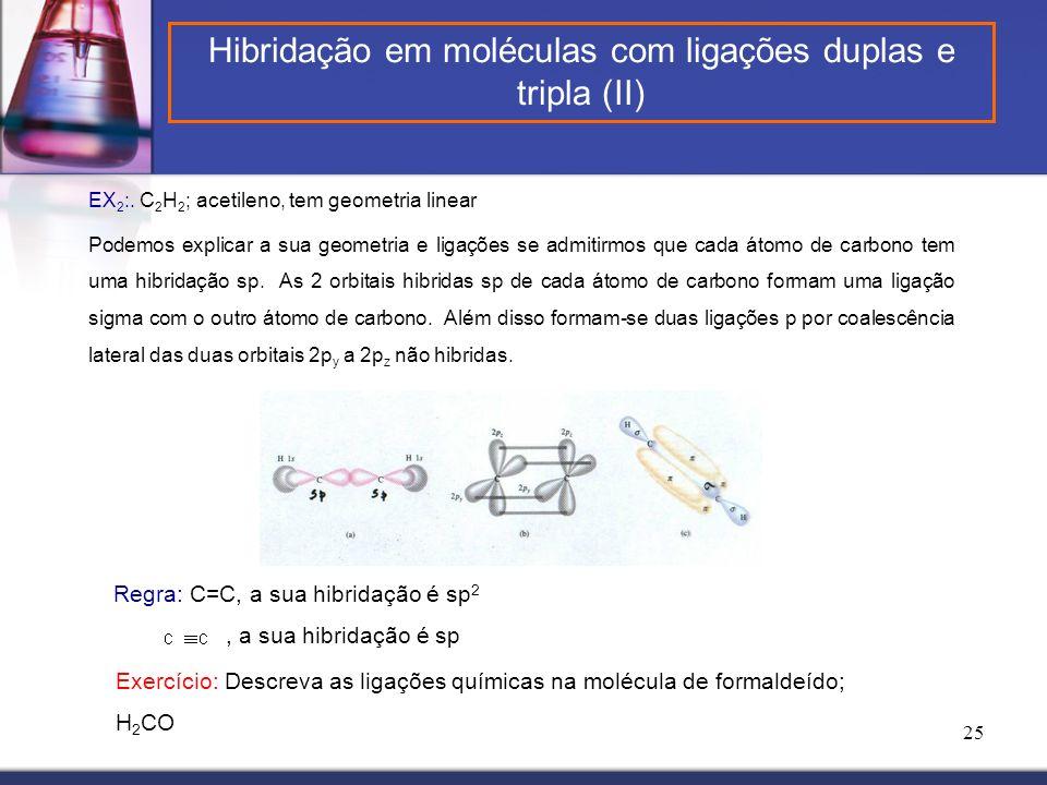 Hibridação em moléculas com ligações duplas e tripla (II)