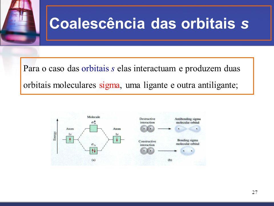 Coalescência das orbitais s