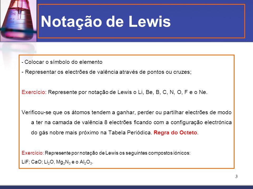 Notação de Lewis - Colocar o símbolo do elemento. - Representar os electrões de valência através de pontos ou cruzes;