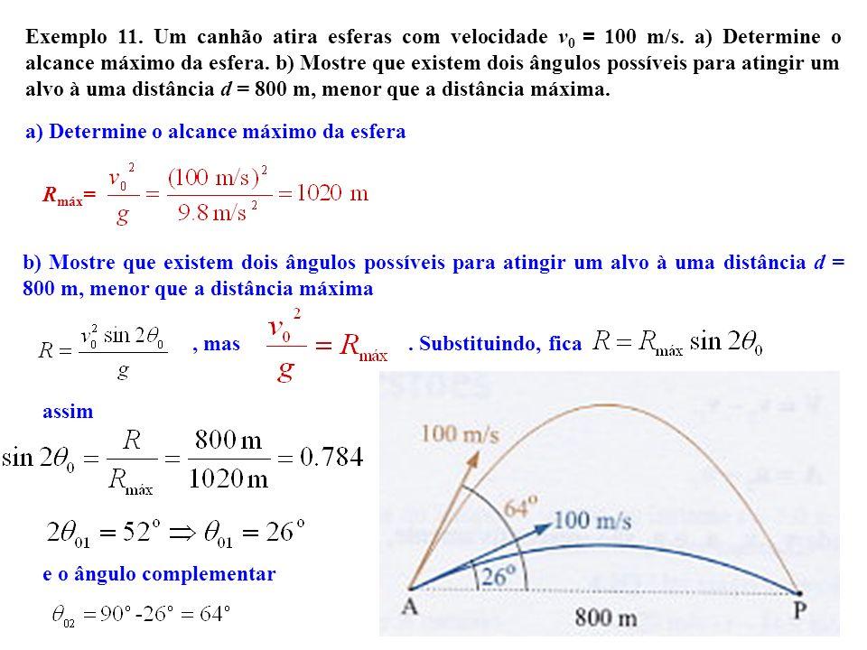 a) Determine o alcance máximo da esfera