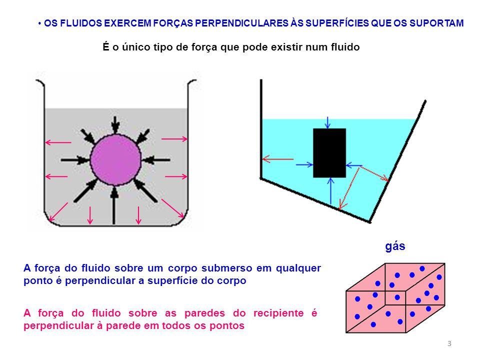 gás É o único tipo de força que pode existir num fluido