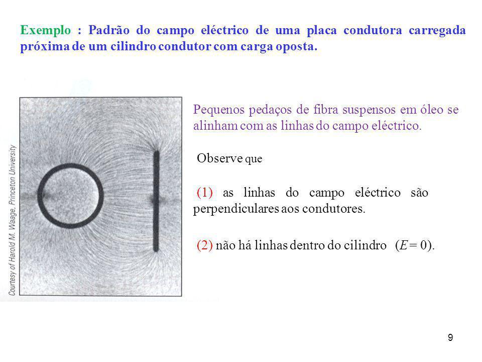 Exemplo : Padrão do campo eléctrico de uma placa condutora carregada próxima de um cilindro condutor com carga oposta.