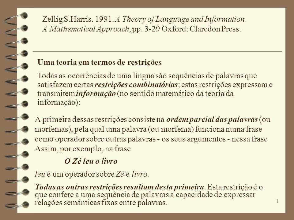 Zellig S. Harris. 1991. A Theory of Language and Information