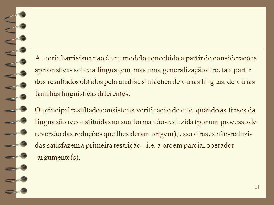 A teoria harrisiana não é um modelo concebido a partir de considerações apriorísticas sobre a linguagem, mas uma generalização directa a partir dos resultados obtidos pela análise sintáctica de várias línguas, de várias famílias linguísticas diferentes.