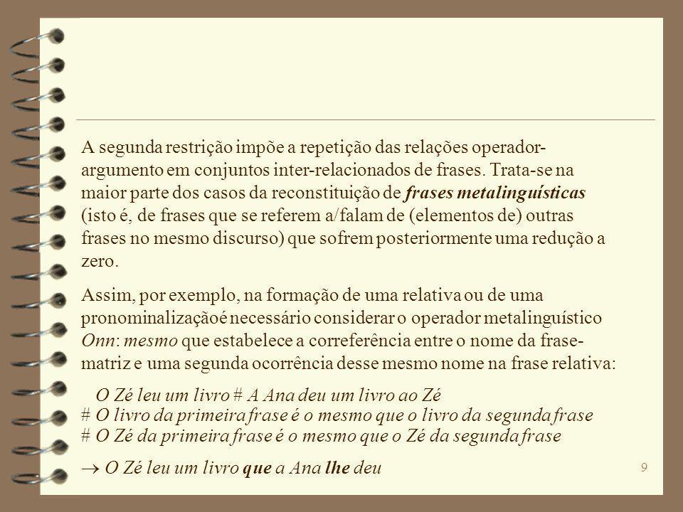 A segunda restrição impõe a repetição das relações operador-argumento em conjuntos inter-relacionados de frases. Trata-se na maior parte dos casos da reconstituição de frases metalinguísticas (isto é, de frases que se referem a/falam de (elementos de) outras frases no mesmo discurso) que sofrem posteriormente uma redução a zero.
