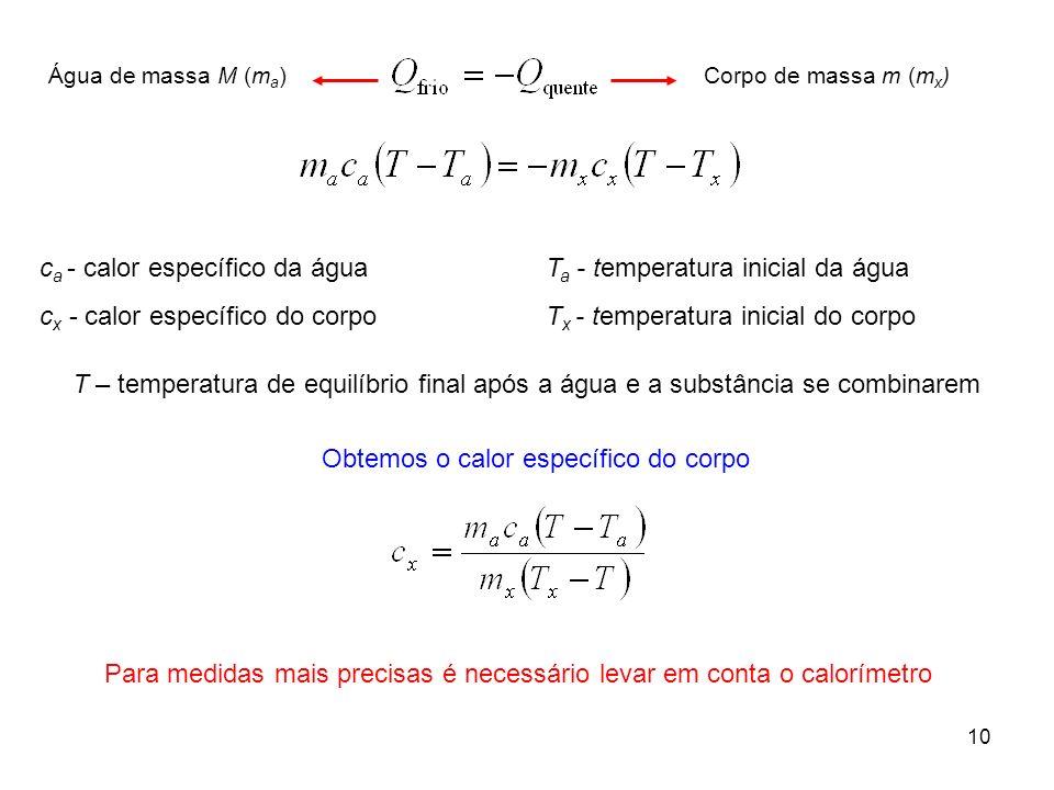 ca - calor específico da água cx - calor específico do corpo