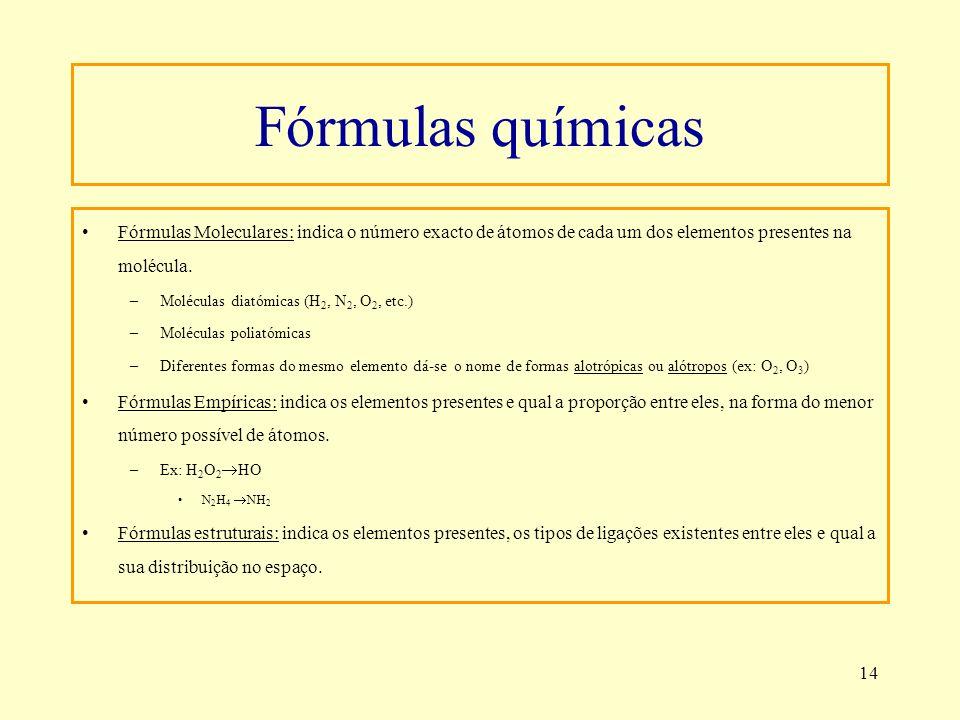 Fórmulas químicasFórmulas Moleculares: indica o número exacto de átomos de cada um dos elementos presentes na molécula.