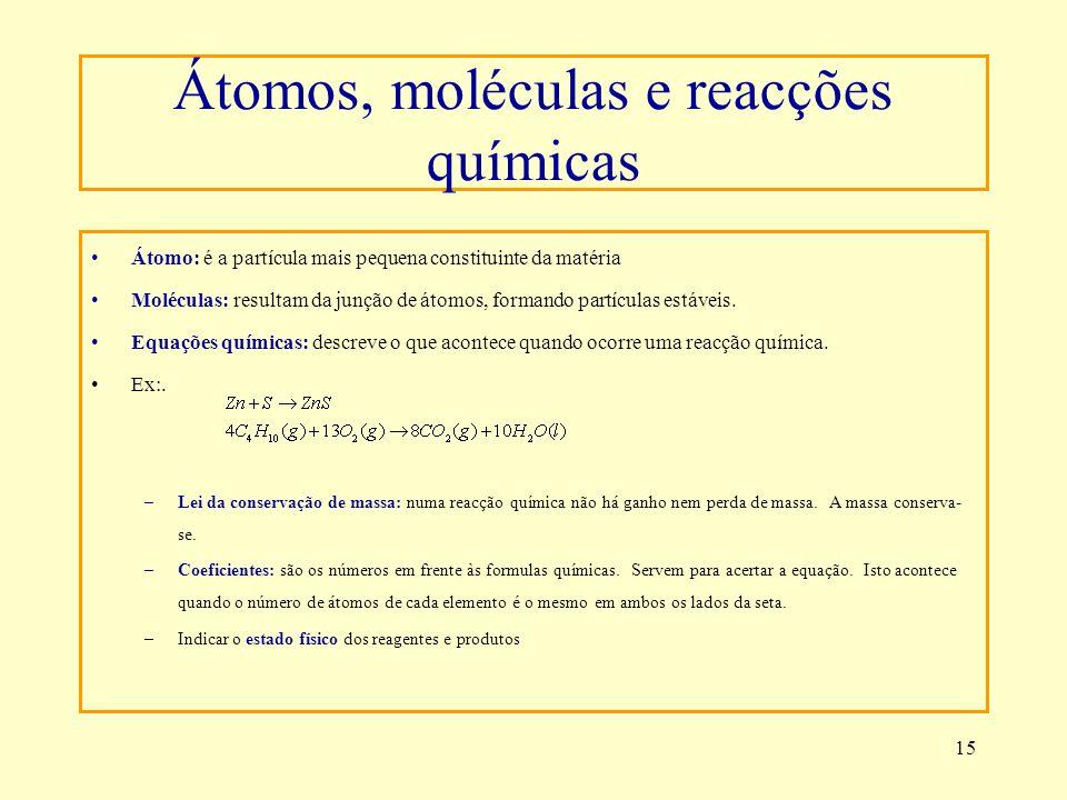 Átomos, moléculas e reacções químicas