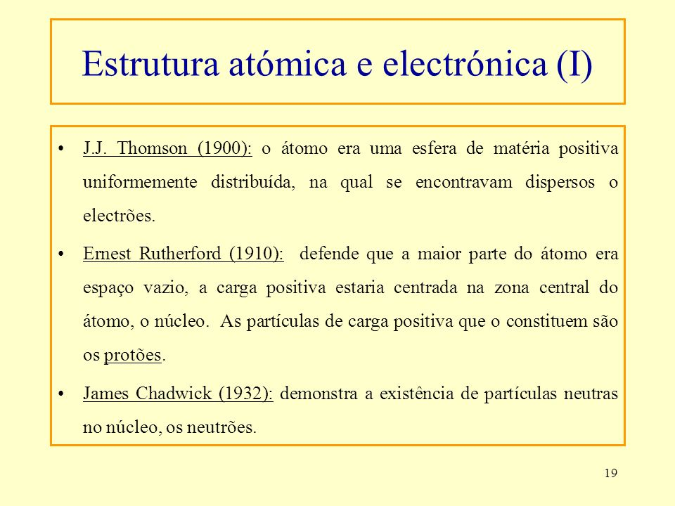 Estrutura atómica e electrónica (I)