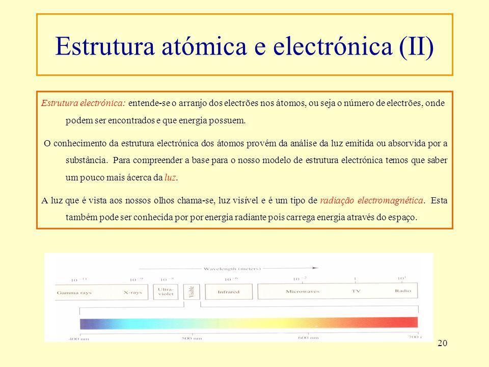 Estrutura atómica e electrónica (II)