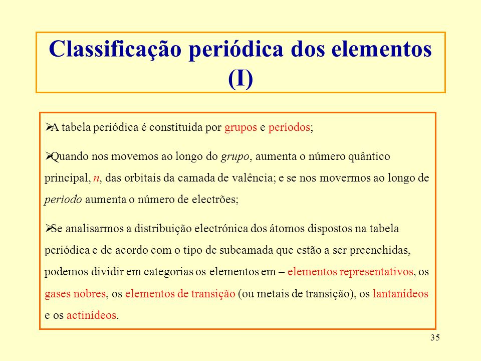 Classificação periódica dos elementos (I)