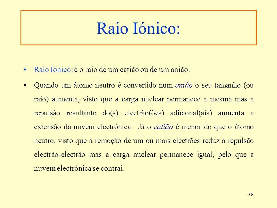 Raio Iónico: Raio Iónico: é o raio de um catião ou de um anião.