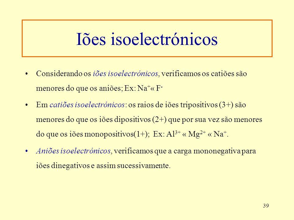 Iões isoelectrónicosConsiderando os iões isoelectrónicos, verificamos os catiões são menores do que os aniões; Ex: Na+« F-