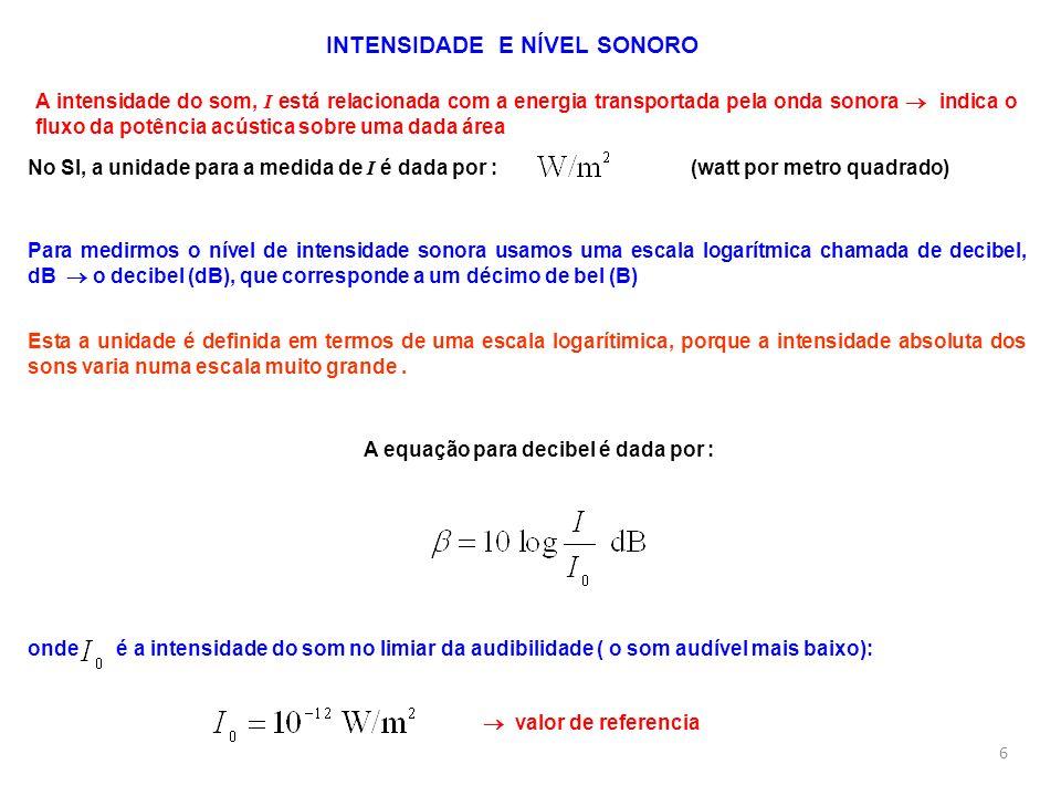 A equação para decibel é dada por :