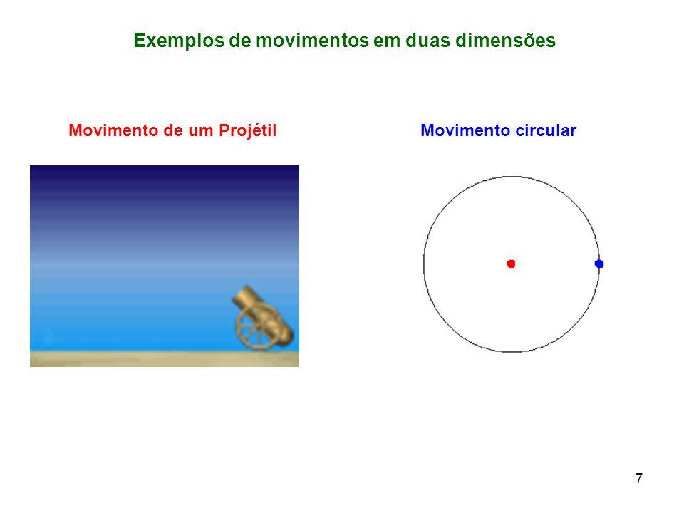 Exemplos de movimentos em duas dimensões