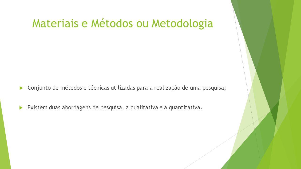 Materiais e Métodos ou Metodologia