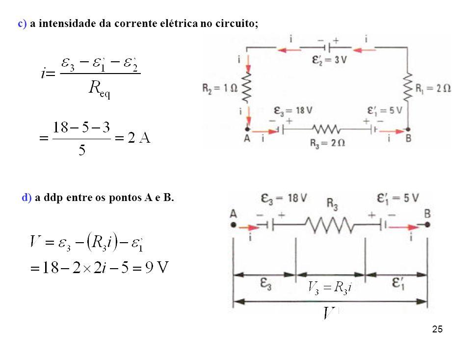 c) a intensidade da corrente elétrica no circuito;
