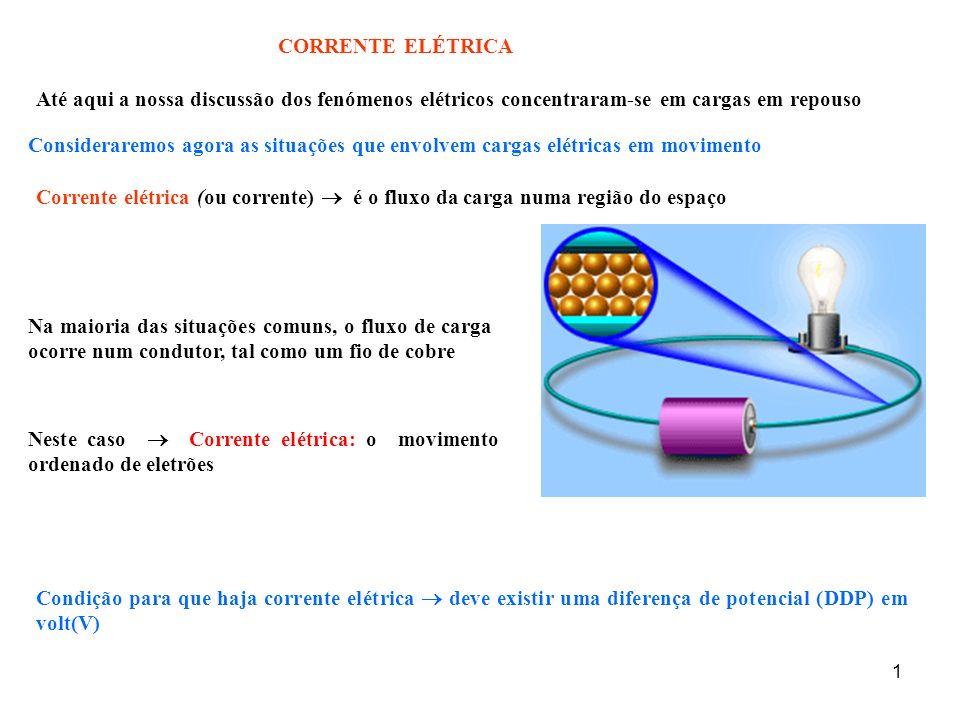 CORRENTE ELÉTRICA Até aqui a nossa discussão dos fenómenos elétricos concentraram-se em cargas em repouso.