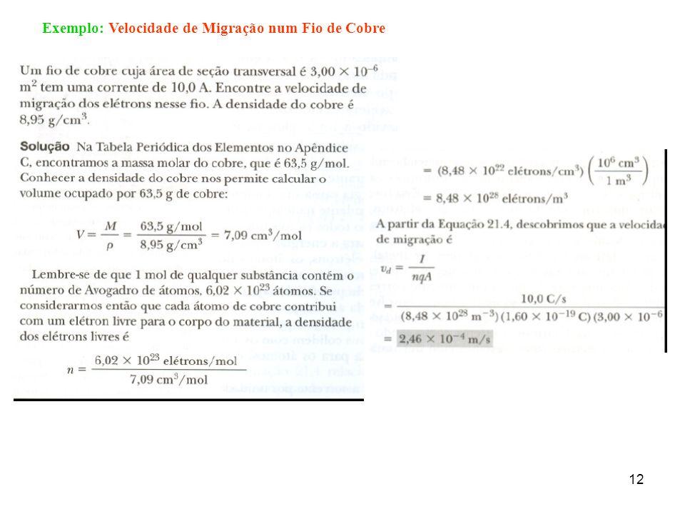 Exemplo: Velocidade de Migração num Fio de Cobre