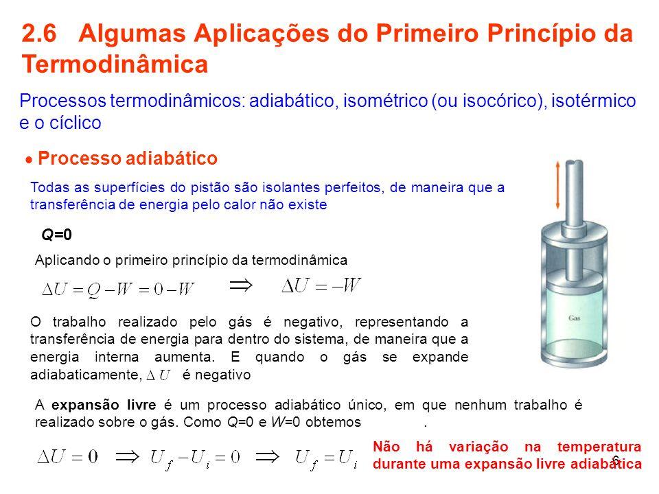 2.6 Algumas Aplicações do Primeiro Princípio da Termodinâmica