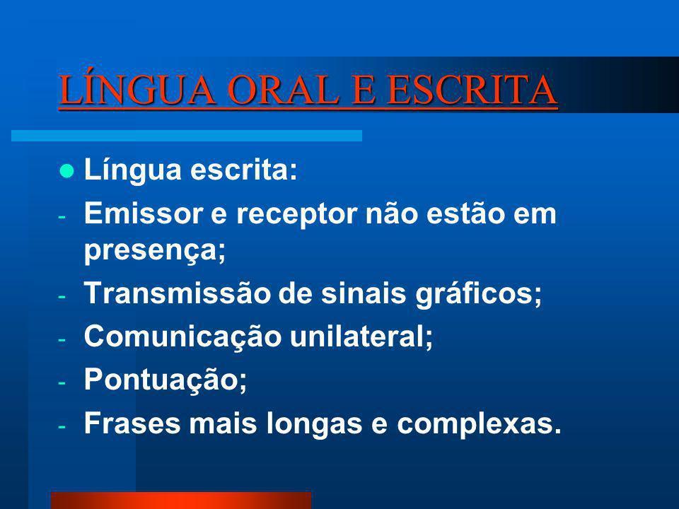 LÍNGUA ORAL E ESCRITA Língua escrita: