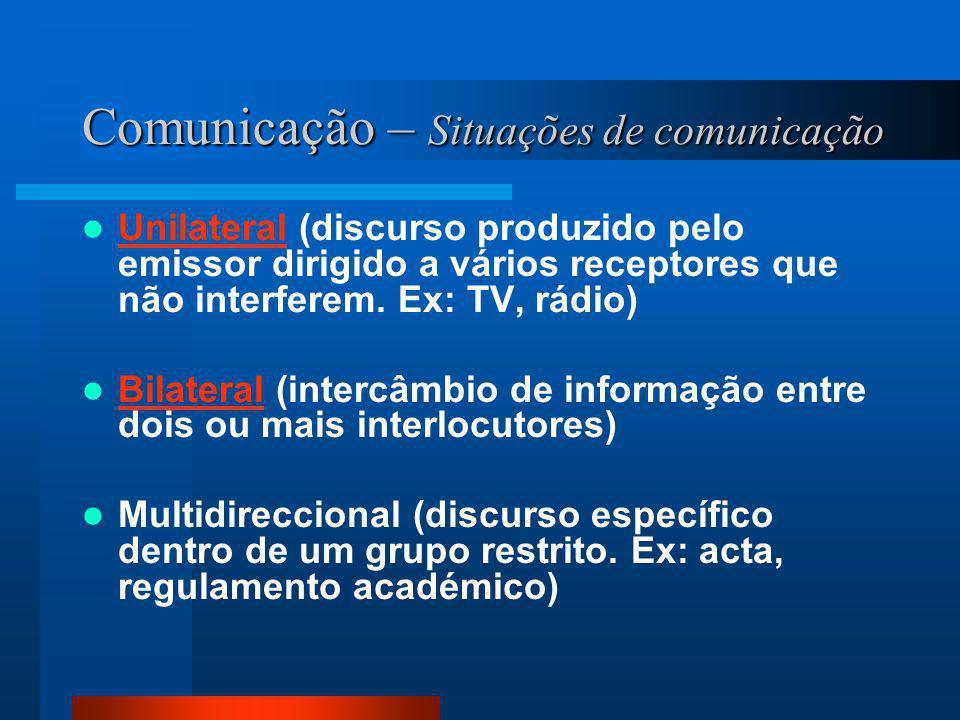 Comunicação – Situações de comunicação