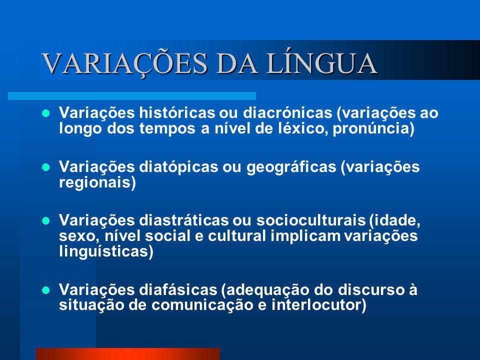 VARIAÇÕES DA LÍNGUA Variações históricas ou diacrónicas (variações ao longo dos tempos a nível de léxico, pronúncia)