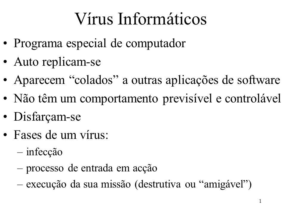 Vírus Informáticos Programa especial de computador Auto replicam-se