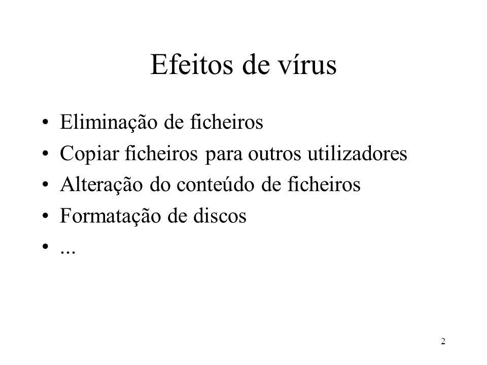 Efeitos de vírus Eliminação de ficheiros