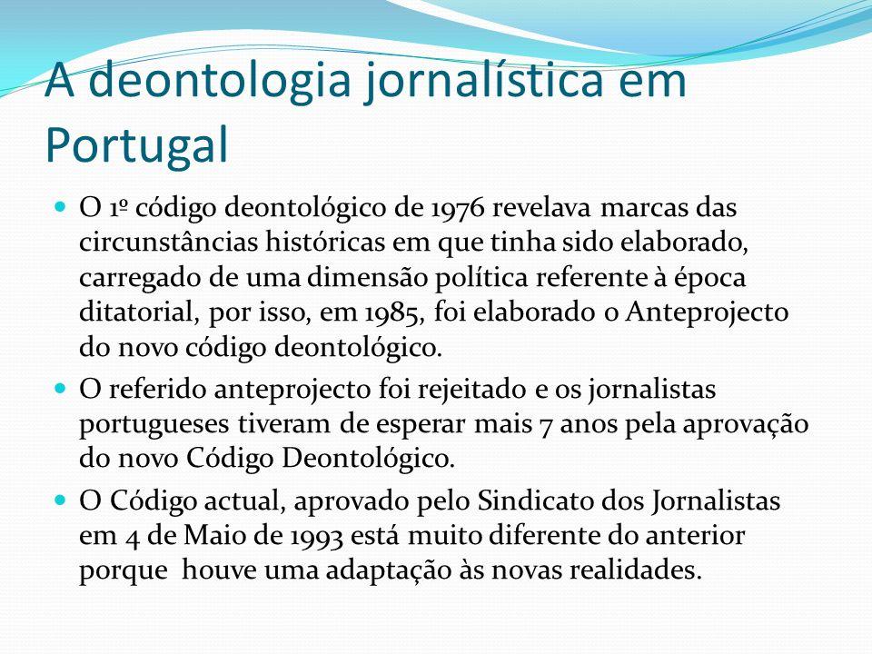 A deontologia jornalística em Portugal