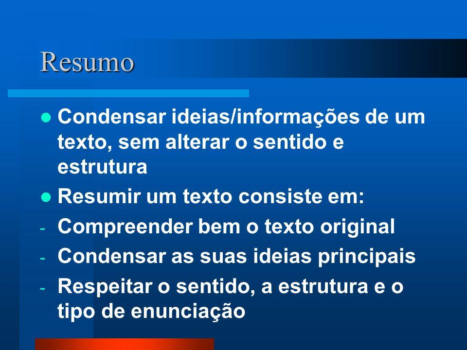 ResumoCondensar ideias/informações de um texto, sem alterar o sentido e estrutura. Resumir um texto consiste em: