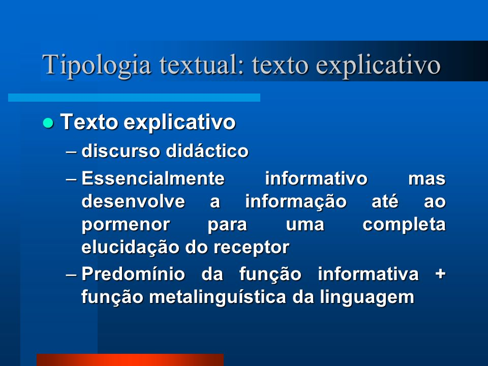 Tipologia textual: texto explicativo