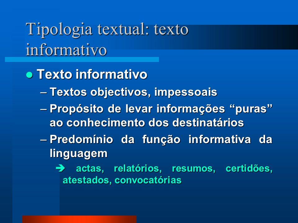 Tipologia textual: texto informativo