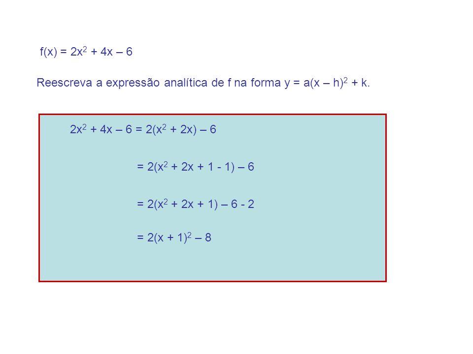 f(x) = 2x2 + 4x – 6 Reescreva a expressão analítica de f na forma y = a(x – h)2 + k. 2x2 + 4x – 6 = 2(x2 + 2x) – 6.