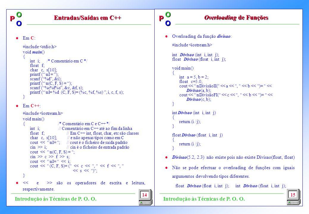 Entradas/Saídas em C++