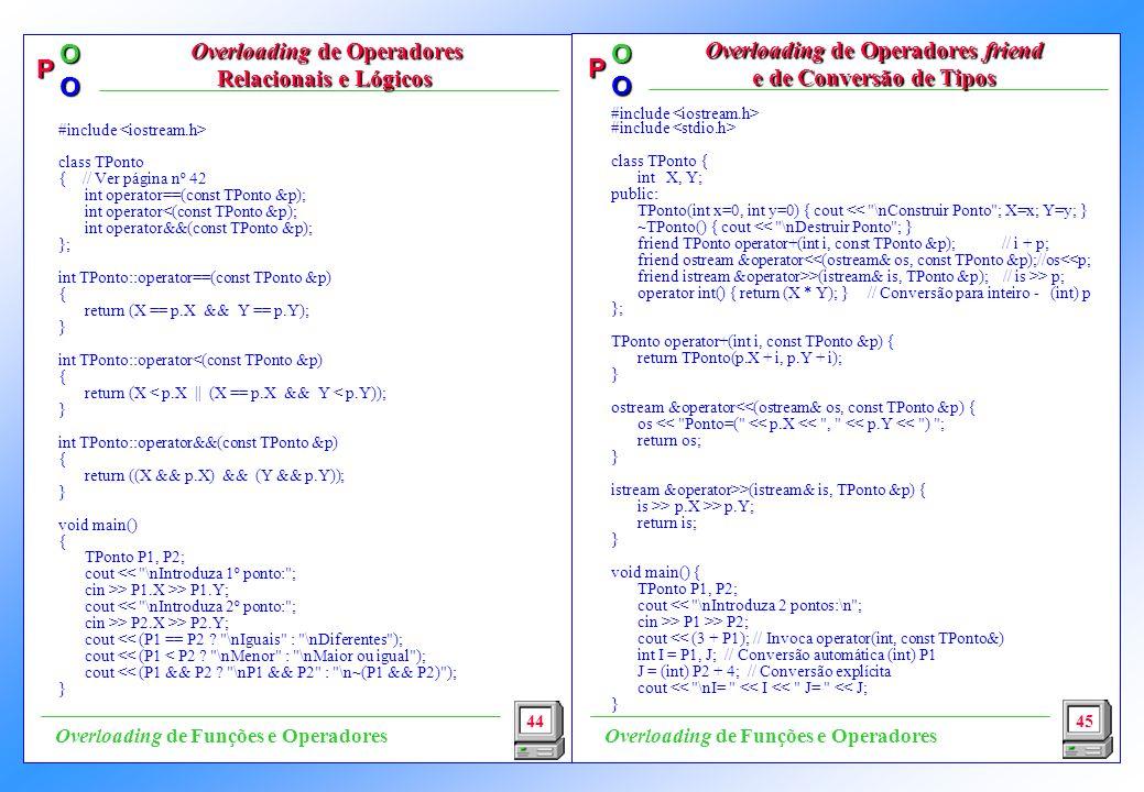 Overloading de Operadores Relacionais e Lógicos