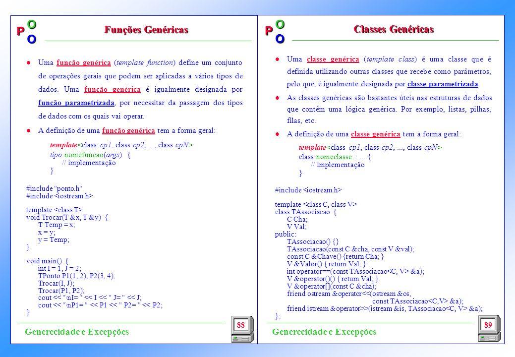 Funções Genéricas Classes Genéricas