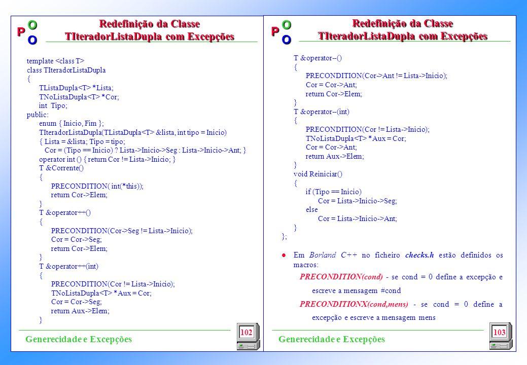 Redefinição da Classe TIteradorListaDupla com Excepções