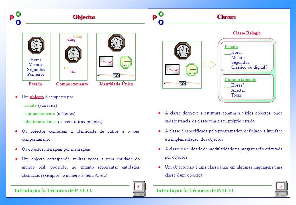 Objectos Classes Introdução às Técnicas de P. O. O.