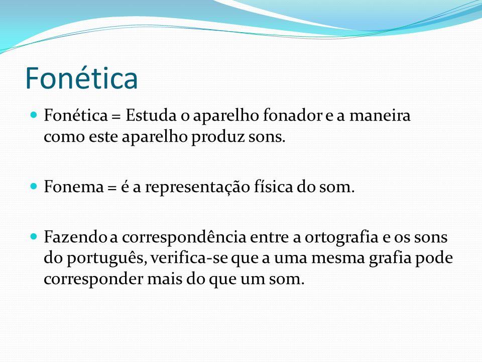 Fonética Fonética = Estuda o aparelho fonador e a maneira como este aparelho produz sons. Fonema = é a representação física do som.