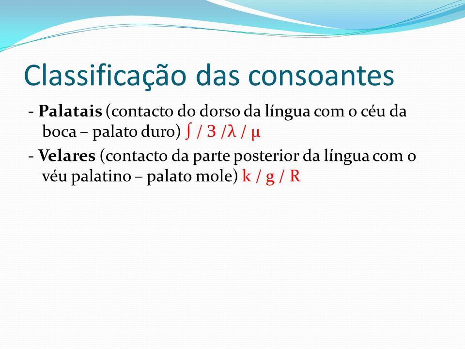 Classificação das consoantes