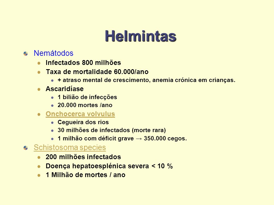 Helmintas Nemátodos Schistosoma species Infectados 800 milhões