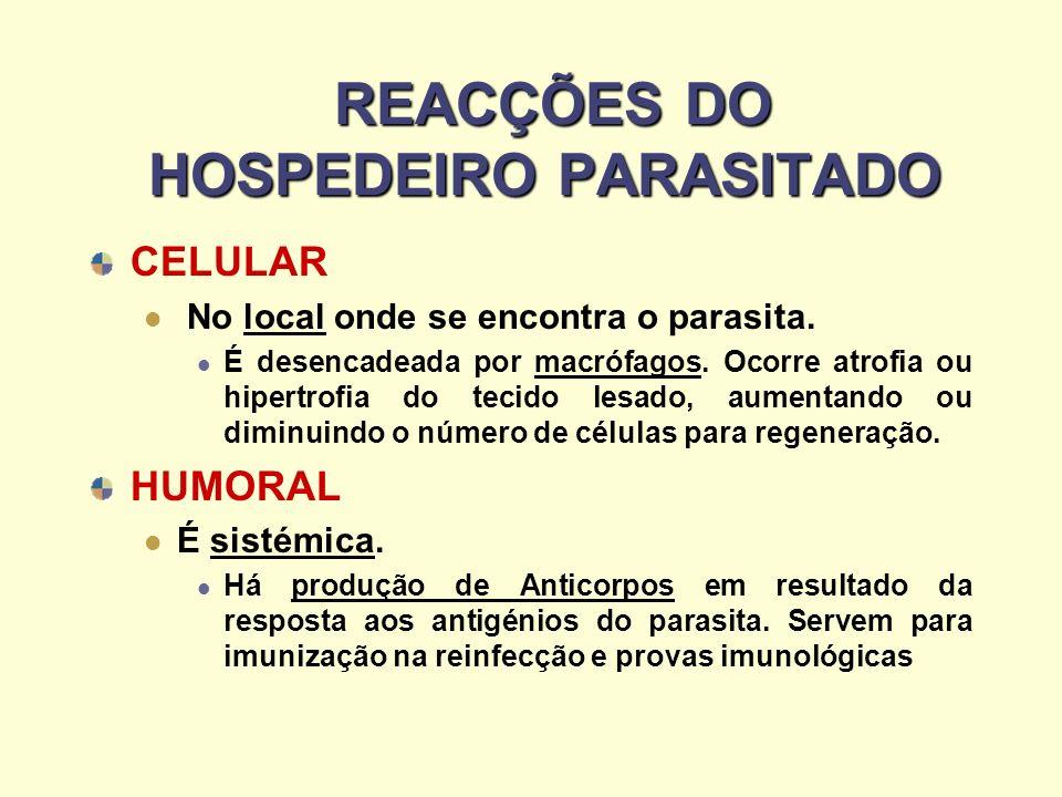 REACÇÕES DO HOSPEDEIRO PARASITADO