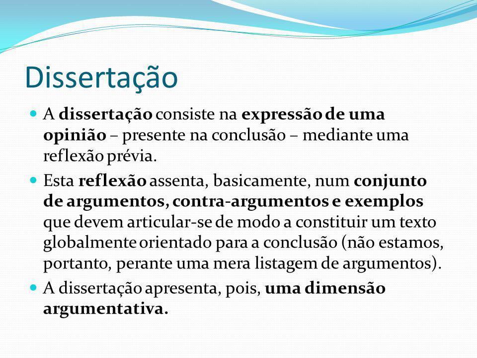 Dissertação A dissertação consiste na expressão de uma opinião – presente na conclusão – mediante uma reflexão prévia.